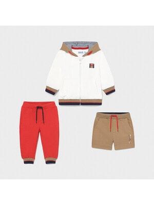 Комплект, Кофта + червоні штани + бежеві шорти, Кремовий, Mayoral Іспанія, 21VL