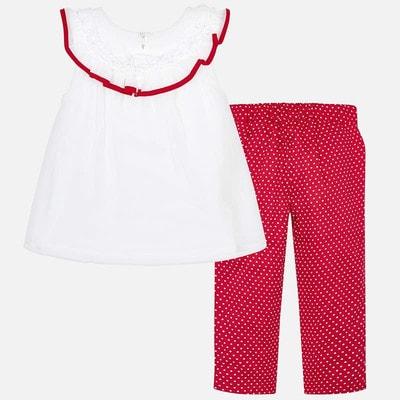 Комплект, Блуза біла + штани в білий горошок, Червоний, Mayoral Іспанія, 19VL