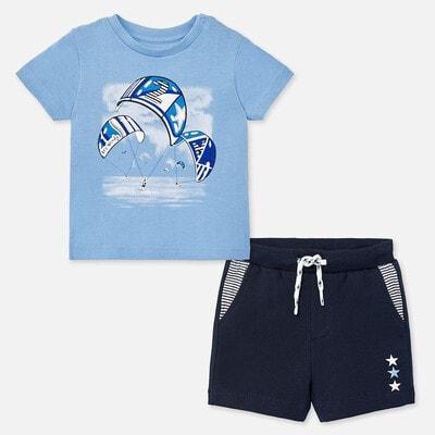 Комплект, Футболка синя + шорти, Темно-синій, Mayoral Іспанія, 20VL