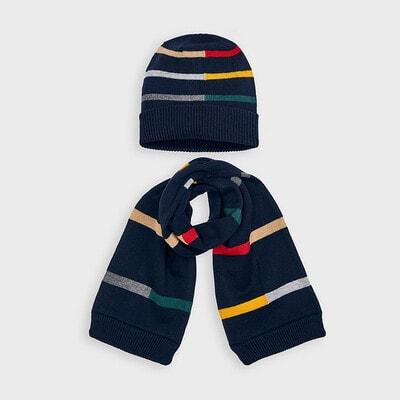 Головний убір Комплект, Шапка + шарф, Темно-синій, Mayoral Іспанія, 21OZ