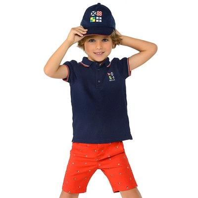 Комплект, Шорти червоні + сорочка-поло, Темно-синій, Mayoral Іспанія, 19VL