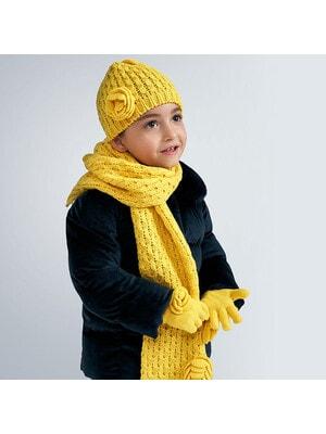 Головний убір Комплект, Шапка + шарф + рукавички, Жовтий, Mayoral Іспанія, 21OZ