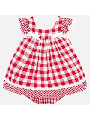 Платье в белую клетку, Красный, Mayoral Испания, 20VL