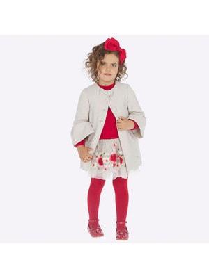 Спідниця, вишиті білі та червоні квіти, Бежевий, Mayoral Іспанія, 20OZ