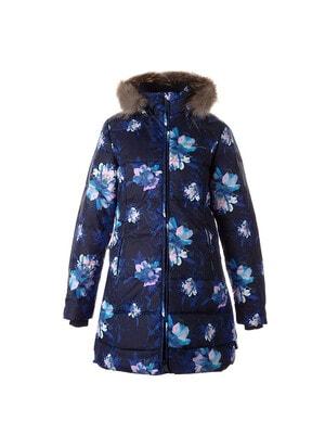 Пальто, в квітах, з капюшоном (натуральне хутро)  PARISH, Темно-синій, HUPPA Естонія, 21OZ