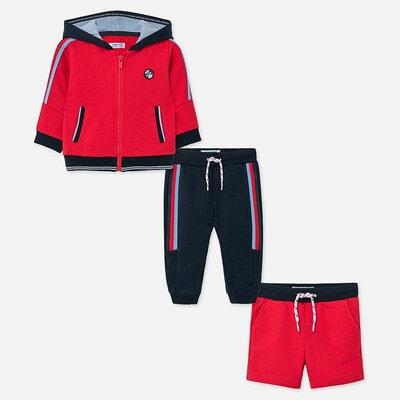 Комплект Спортивний, Кофта + сині штани + шорти, Червоний, Mayoral Іспанія, 20VL