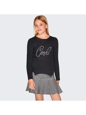 Сукня, (низ в білий горошок) + светр, Темно-сірий, Mayoral Іспанія, 20OZ