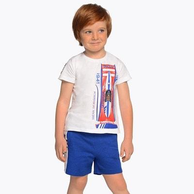 Комплект, Футболка + сині шорти, Білий, Mayoral Іспанія, 19VL