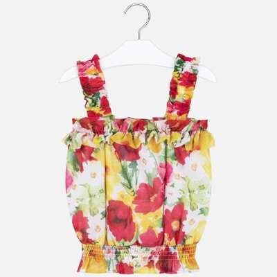 Блуза, в малинових та жовтих квітах, Білий, Mayoral Іспанія, 20VL
