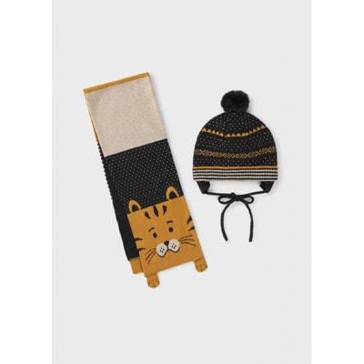 Головний убір Комплект, Шапка + шарф, Темно-сірий, Mayoral Іспанія, 22OZ