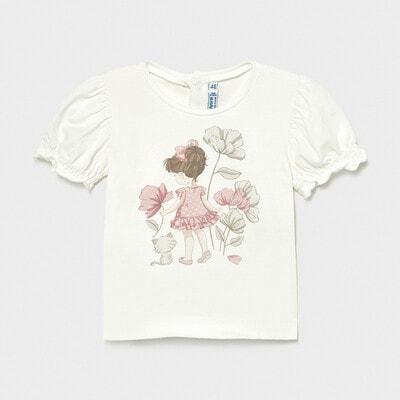 Футболка, дівчинка в рожевій сукні, Кремовий, Mayoral Іспанія, 21VL