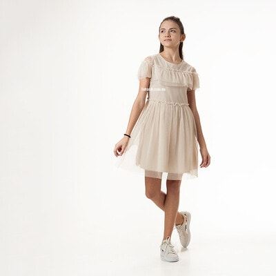 Платье с блестками, Бежевый, Mayoral Испания, 21VL