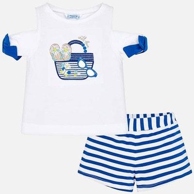 Комплект, Футболка + шорти в синю смугу, Білий, Mayoral Іспанія, 19VL