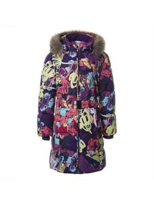 Пальто, з капюшоном (принт)  YACARANDA, Фіолетовий, HUPPA Естонія, 21OZ