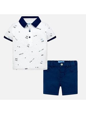 Комплект, Футболка + шорти сині, Білий, Mayoral Іспанія, 19VL
