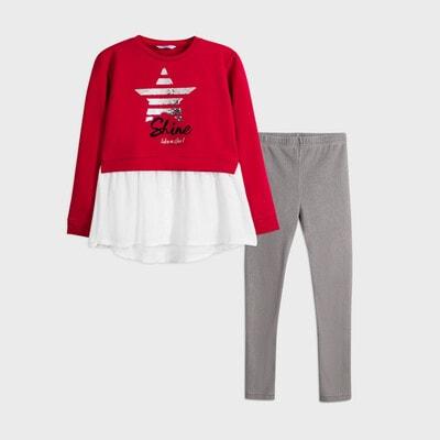 Комплект, Пуловер  + сірі легінси, Червоний, Mayoral Іспанія, 21OZ