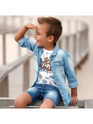 ОДЯГ Хлопчик Сорочка, джинсова, довгий рукав, Блакитний, Mayoral Іспанія, 19VL