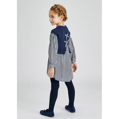 Сукня, довгий рукав, в білу смугу, Темно-синій, Mayoral Іспанія, 22OZ