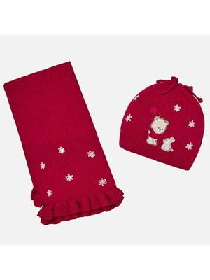 Головний убір Комплект, Шапка + шарф, Червоний, Mayoral Іспанія, 20OZ