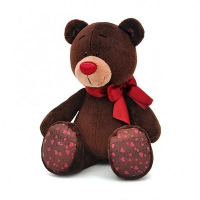Іграшка М'яка, Ведмедик  Choco з червоним  бантиком 35 см (сидячий), ORANGE Китай