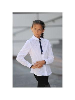 Шкільна форма, Блуза довгий рукав (сині квіточки), Білий, ТМ Colabear, 19Ошкола
