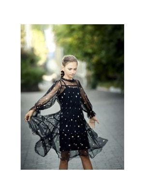 Сукня, у вишитих золотистих зірочках, прозорий рукав, Чорний, ТМ Colabear, 20OZ