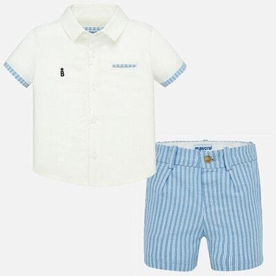 Комплект, Сорочка + блакитні шорти, Білий, Mayoral Іспанія, 20VL