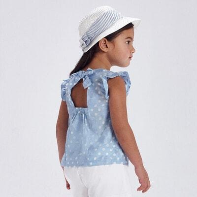 Блуза, в белый горошек, Голубой, Mayoral Испания, 21VL