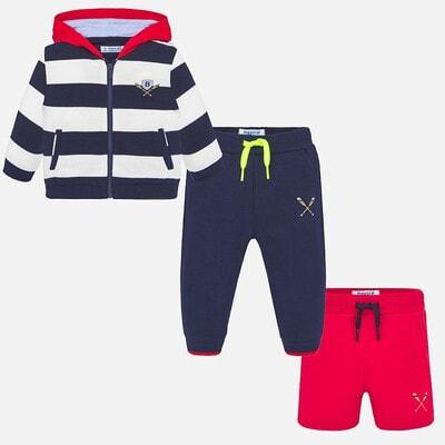 Комплект Спортивний, Кофта в смугу + червоні шорти + штани, Темно-синій, Mayoral Іспанія, 20VL