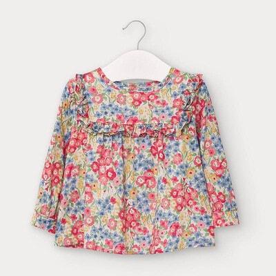 Блуза, в рожевих та синіх квітах, Бежевий, Mayoral Іспанія, 21OZ
