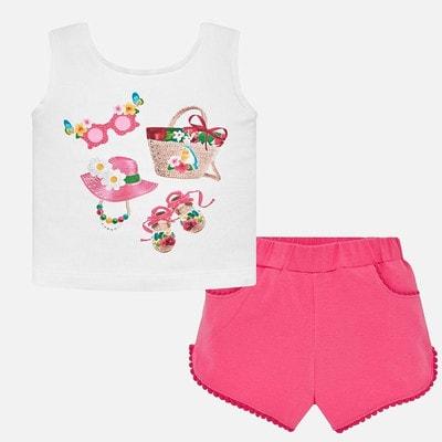 Комплект, Майка (курчатка) + рожеві шорти, Білий, Mayoral Іспанія, 19VL