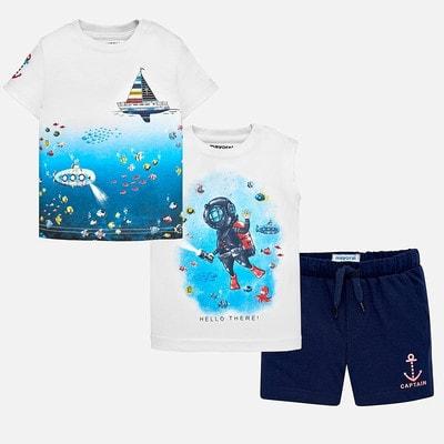 Комплект, Футболка  + майка + сині шорти, Білий, Mayoral Іспанія, 19VL
