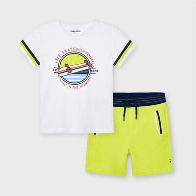 Комплект, Футболка + зелені шорти, Білий, Mayoral Іспанія, 21VL
