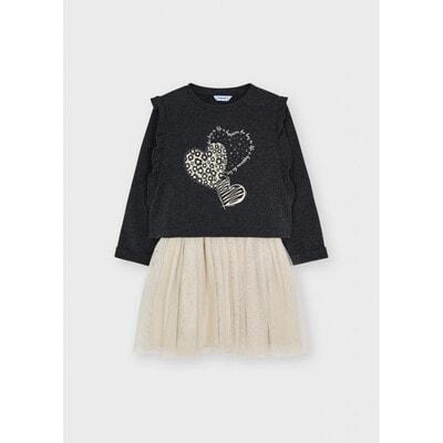 Сукня, низ бежевий в блискітках + пуловер, Темно-сірий, Mayoral Іспанія, 22OZ