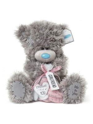Іграшка М'яка, Ведмедик Тедді з мішечком з сердечками (на сердечках побажання), 30 см, Me To You Великобританія