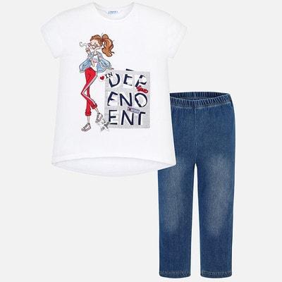 Комплект, Футболка + джинсові сині легінси, Білий, Mayoral Іспанія, 19VL