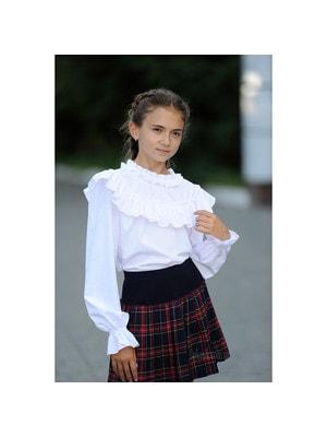 Шкільна форма, Блуза довгий рукав (зверху мереживна вставка та волан в складочку) + майка, Білий, REMIX Польща, 19Ошкола