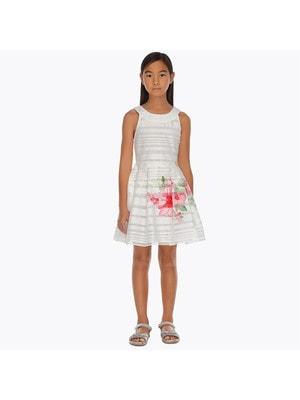 ОДЯГ Дівчинка Сукня, рожева квітка, Білий, Mayoral Іспанія, 19VL