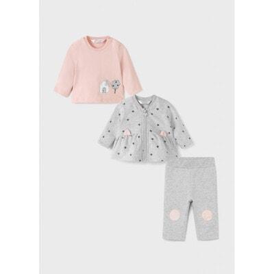 Комплект, Кофта + рожевий джемпер + штани, Сірий, Mayoral Іспанія, 22OZ