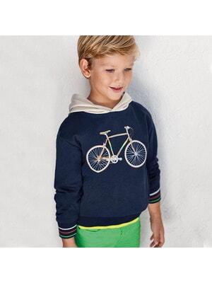 Пуловер, з бежевим капюшоном, Темно-синій, Mayoral Іспанія, 21VL