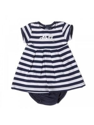 Комплект, Сукня в білу смугу + труси, Темно-синій, Babybol Іспанія, 19VL