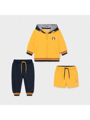Комплект, Кофта + сині штани + шорти, Жовтий, Mayoral Іспанія, 21VL