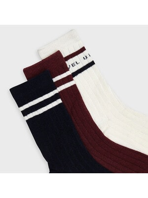 Шкарпетки, 3 пари, Білий, Бордовий, Темно-синій, Mayoral Іспанія, 21OZ
