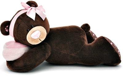 Іграшка М'яка, Ведмедик  Milk з намистом і рожевим бантиком 30 см (лежачий), ORANGE Китай