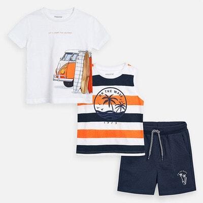 Комплект, Футболка в смугу + футболка біла + шорти, Темно-сірий, Mayoral Іспанія, 20VL
