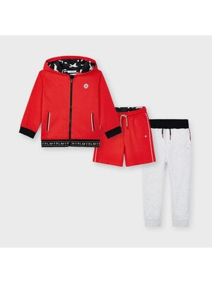 Комплект Спортивний, Кофта + шорти + сірі штани, Червоний, Mayoral Іспанія, 21VL