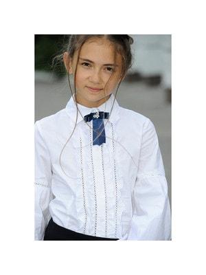 Шкільна форма, Блуза, довгий рукав (біля застібки рюші, брошка), Білий, ТМ Colabear, 19Ошкола