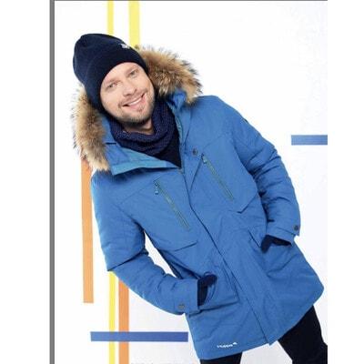 Куртка с капюшоном (натуральный мех) DAVID 1, Синий, HUPPA Эстония, 21OZ