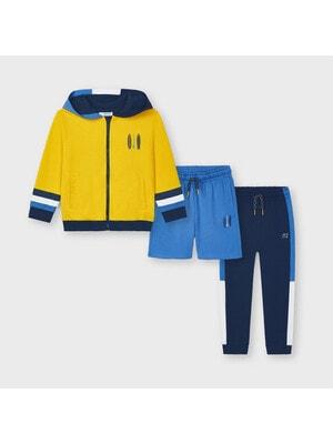 Комплект Спортивний, Кофта + сині шорти + сині штани, Жовтий, Mayoral Іспанія, 21VL