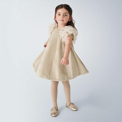 Сукня, короткий рукав, Бежевий, Mayoral Іспанія, 21OZ